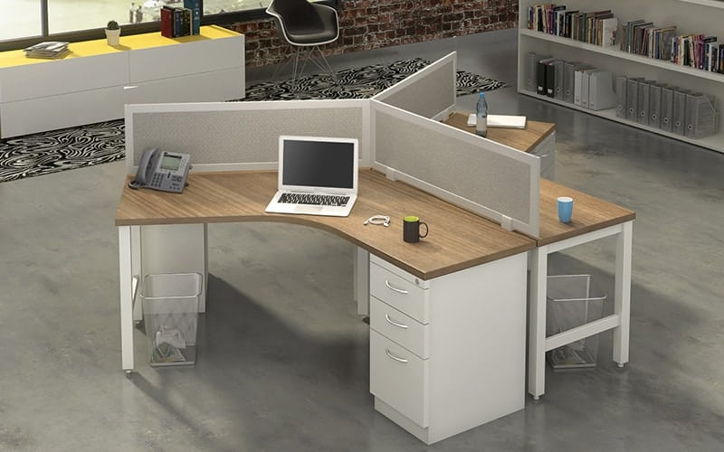3 Person 120 degree desking unit