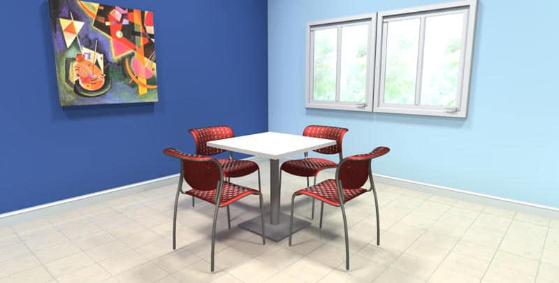 "42"" Square laminate table with stainless steel base, office cafeteria furniture"