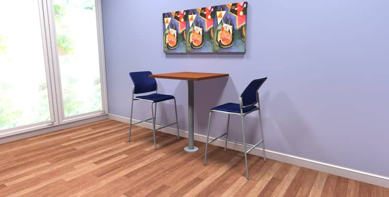 "30"" Square Hi-Top Laminate table with metal bolt-down base, office cafeteria furniture"