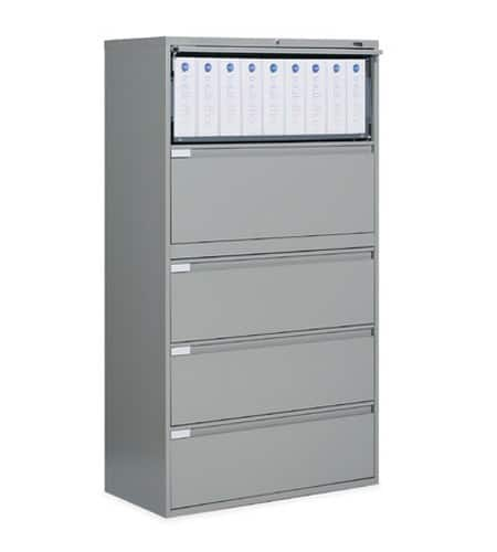 36″ Wide 5 Drawer Lateral File 36w x 18d x 62.25h light grey office storage