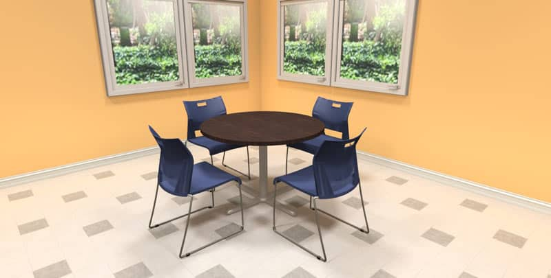 "42"" Round laminate table with metal X base with self-leveling guides, office cafeteria furniture"