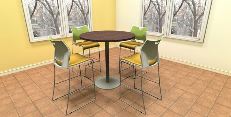 "42"" Round Hi-Top laminate table with metal disc base, office cafeteria furniture"