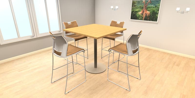 "42"" Square Hi-Top laminate table with metal disc base with Global Duet stools, office cafeteria furniture"