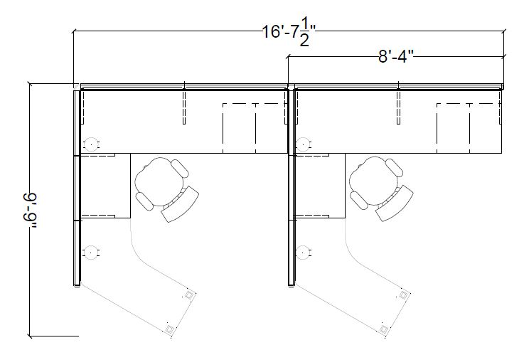 8'x 9.75′ 120 Degree Open Cubicle 235