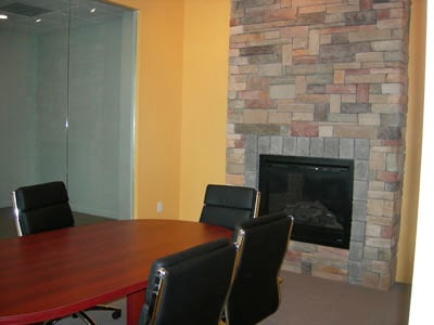 Brick accents, office furniture, Boston, MA