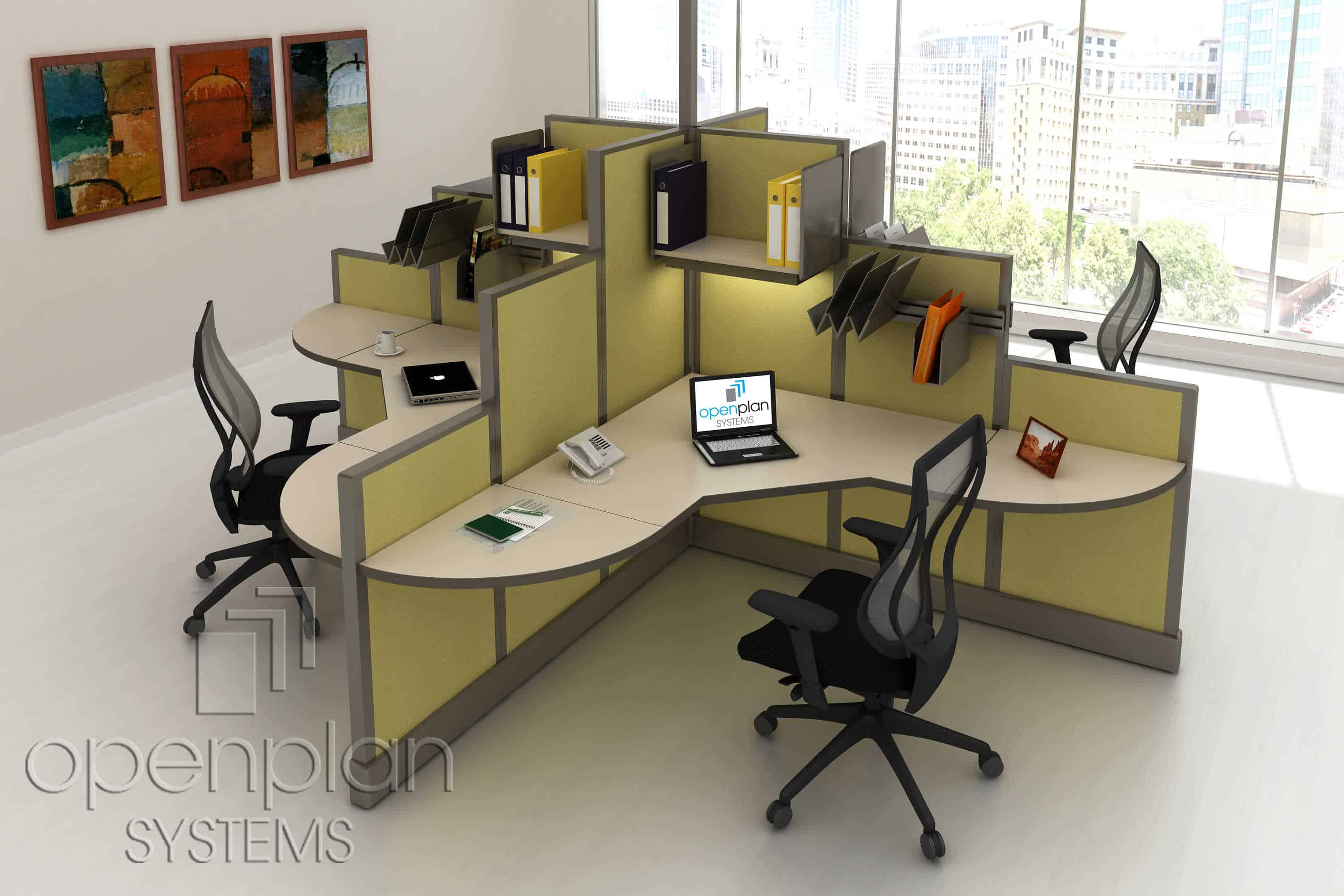 Modern Clover Shaped Office Workstation For 4 People