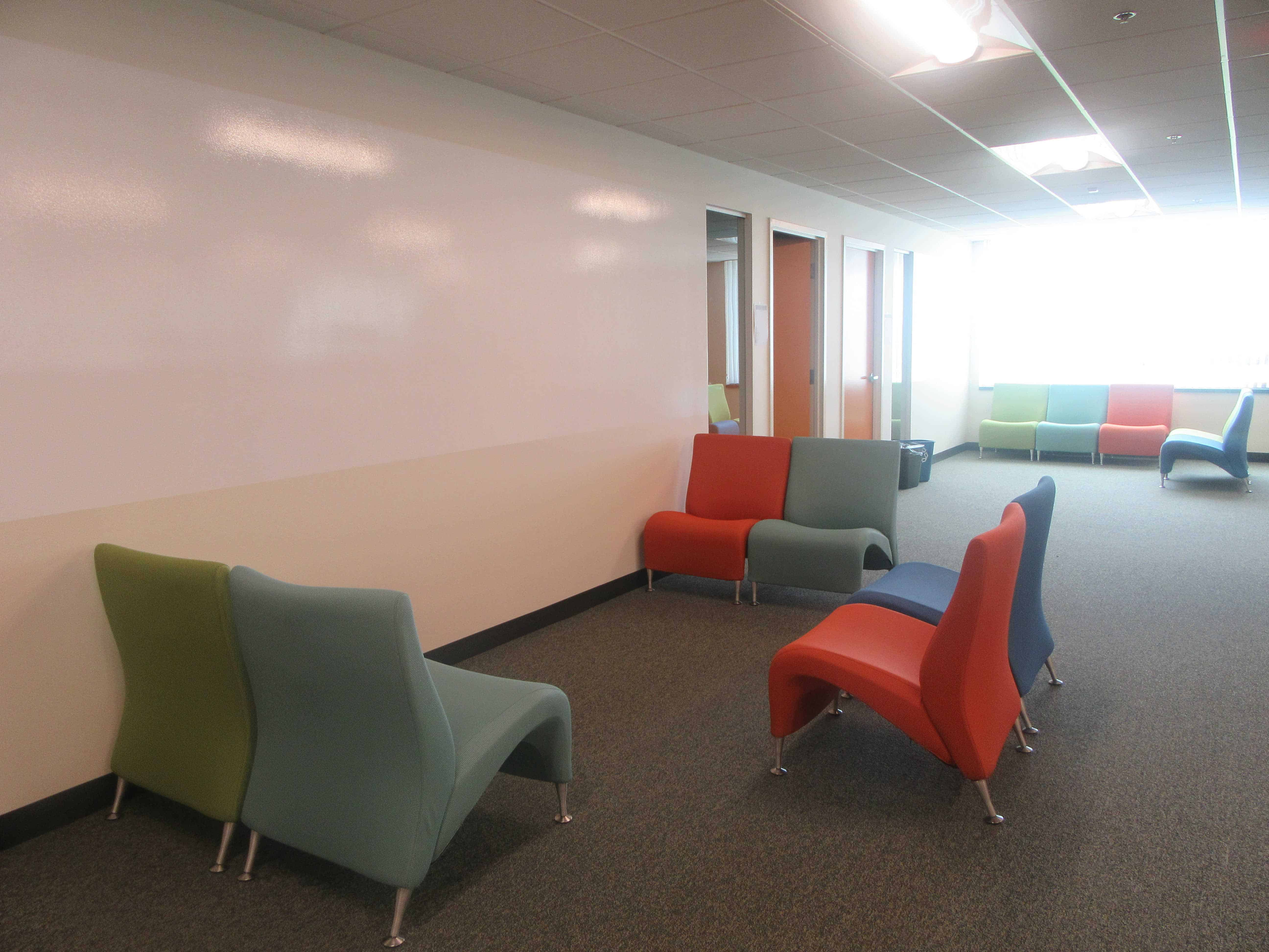 Open collaboration area, office furniture
