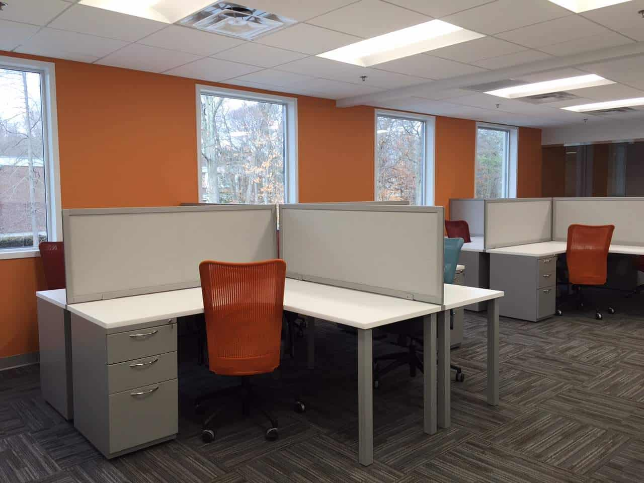 4 person pod with L-shaped desks, office furniture, Boston, MA