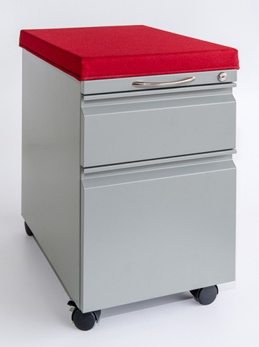 Box/File mobile pedestal with cushion top Padded mobile file pedestal