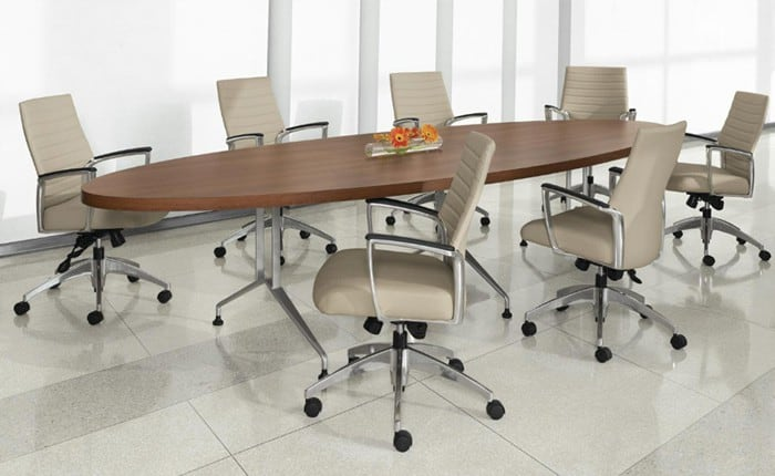Global Alba Oval Laminate 48″x96″ Conference Table with sculpted tungsten base
