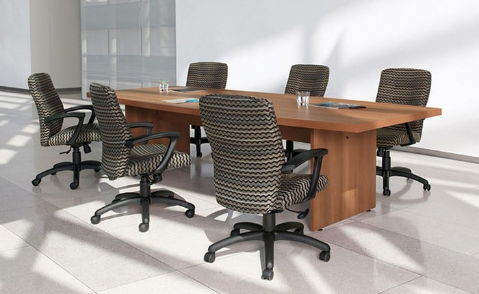 Global Boardroom Laminate Rectangular 48″x96″ Table with Panel End base