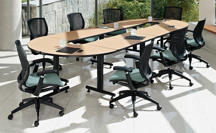 Global ConnecTable Laminate 76″x132″ Table Closed Crescent configuration with (4) rectangular tables and (4) 90 degree corner tables and T-legs