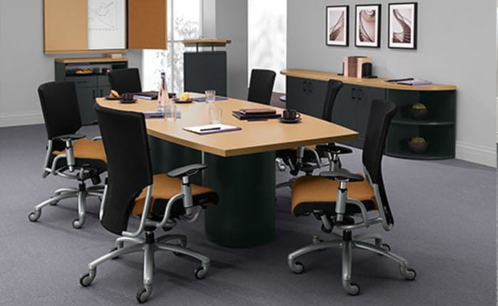 Global Correlation Boat shape 48″x96″ Conference Table with 2 Drum bases
