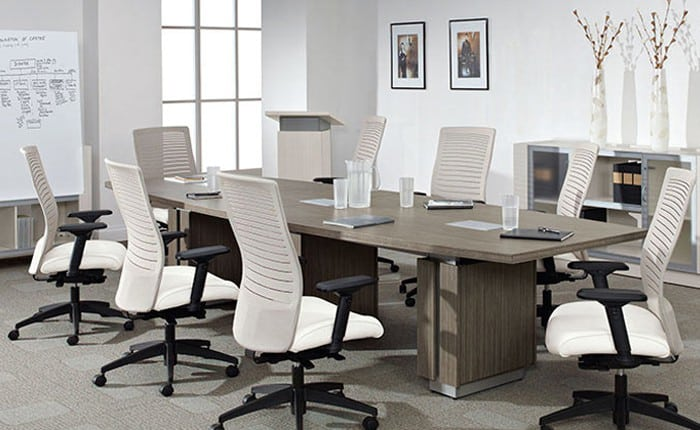 "Global Zira Laminate Boat shape 48""x120"" Conference Table with (3) Technology bases"