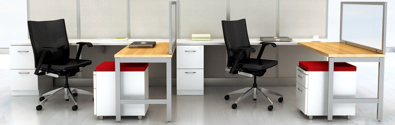 Office configuration showing both under-worksurface File/File pedestals and mobile cushion-top Box/File pedestals