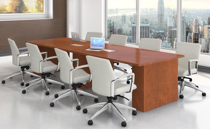 Rectangle 48″x144″ Laminate Conference Table with (3) Laminate Bases and Power