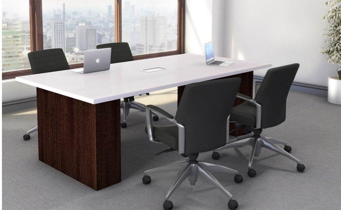 Rectangle 48″x 96″ Laminate Conference Table with (2) Laminate Bases and Power