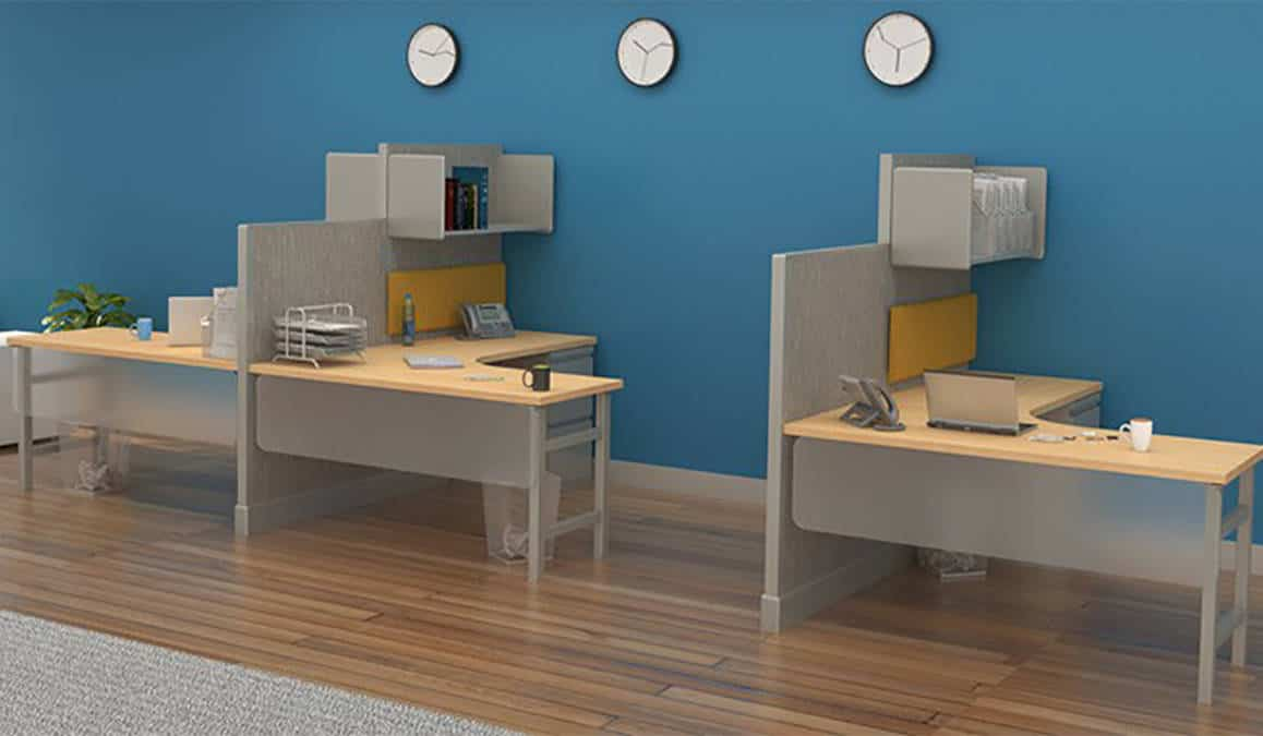 Semi Private Cubicle Workstation With High Low Privacy