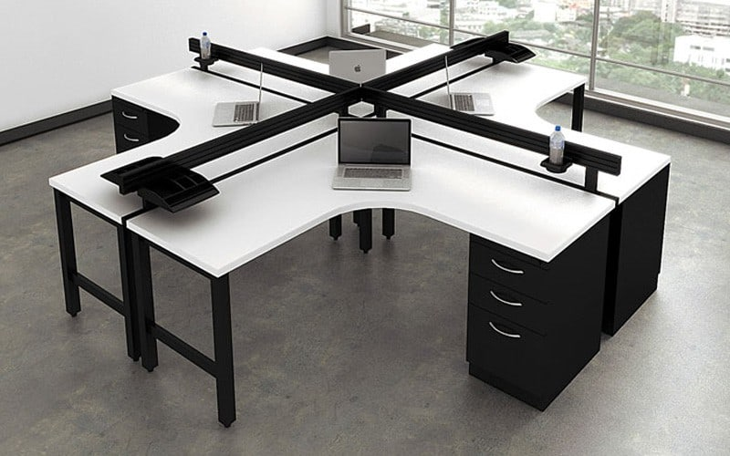 120 Degree 4 Person Desking Benching with curved corner worksurface accessory bar cup holder and paper tray