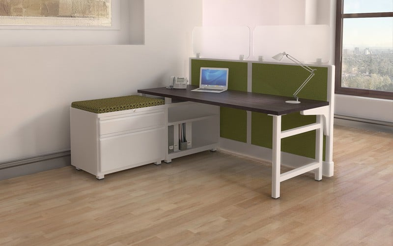Semi-Private Cubicle Style Workstation with open shelf bookcase and sliding door cabinet