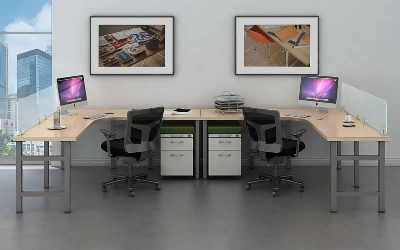 "2 Person Open Benching with 24""x36""x72"" curved corner individual desk and mobile box and file pedestal"