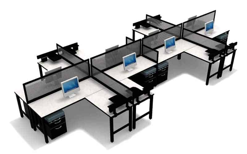 "8 Person Desking with 14""H ribbed lexan privacy screen and 24x36 and 24x66 straight worksurfaces"