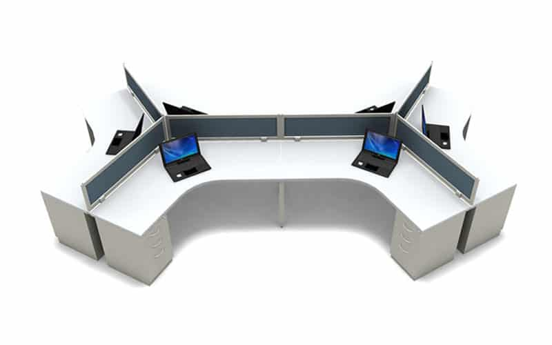 "120 Degree 6 Person Desking System and 24""x48""x48"" worksurface"