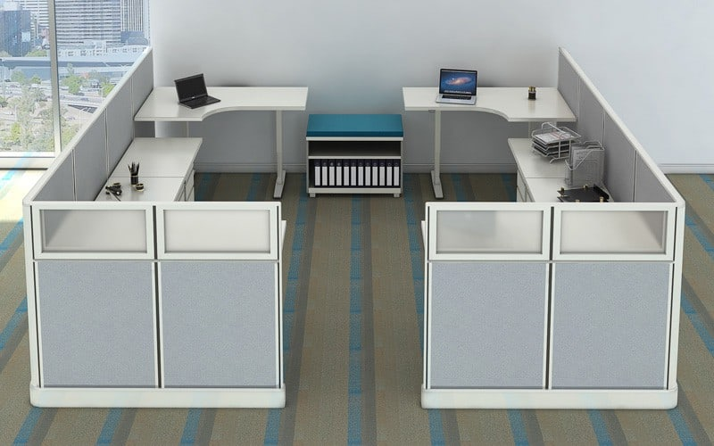 219 u2013 4 person sitstand bullpen - Office Cubicles