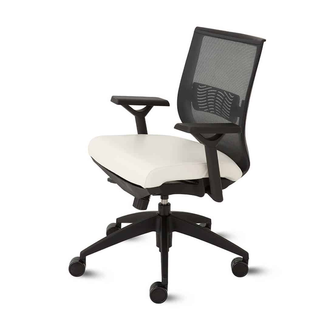9 to 5 Aria upholstered seat with waterfall ege and pneumatic seat with lumbar support task chair