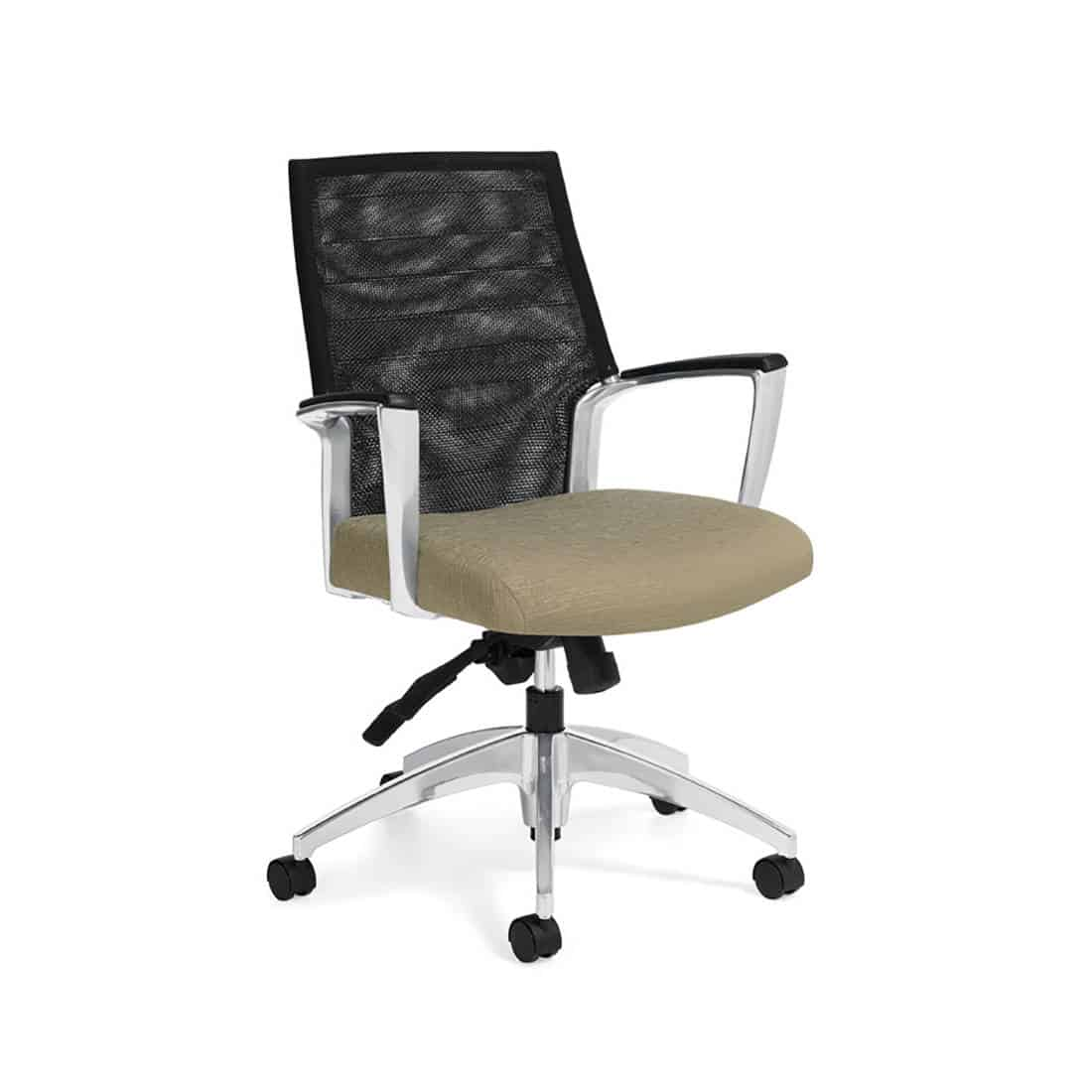 Mid Back Mesh Conference Room Chair with Fabric Seat