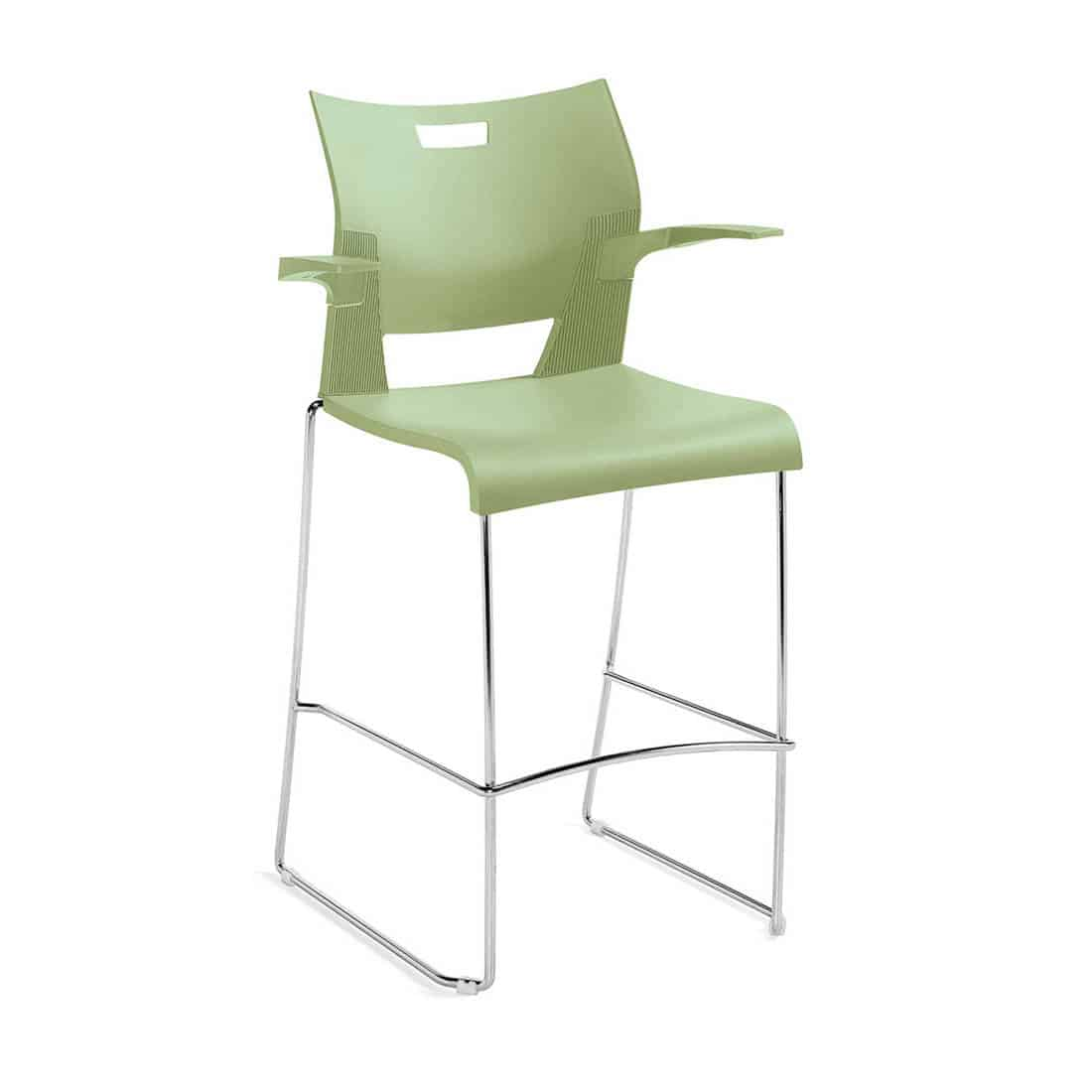 Global Duet Green Bar Height Stool with Arms and Poly Seat and Back fire code