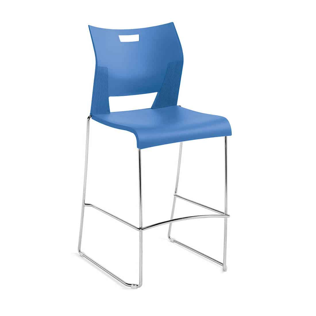 Global Duet Blue Poly seat and back armless barheigh and stacks 8 high on floor Boston Fire Code Approved Chairs