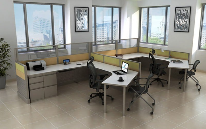 #235 6'x9′ 120 Degree Open Cubicle Style Workstations 1