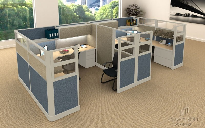 High Office Cubicles With Glass Panels Amp Fabric Walls