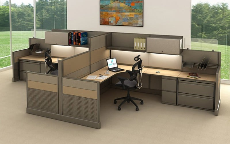 High Low Wall Cubicle Workstations W Storage Drawers