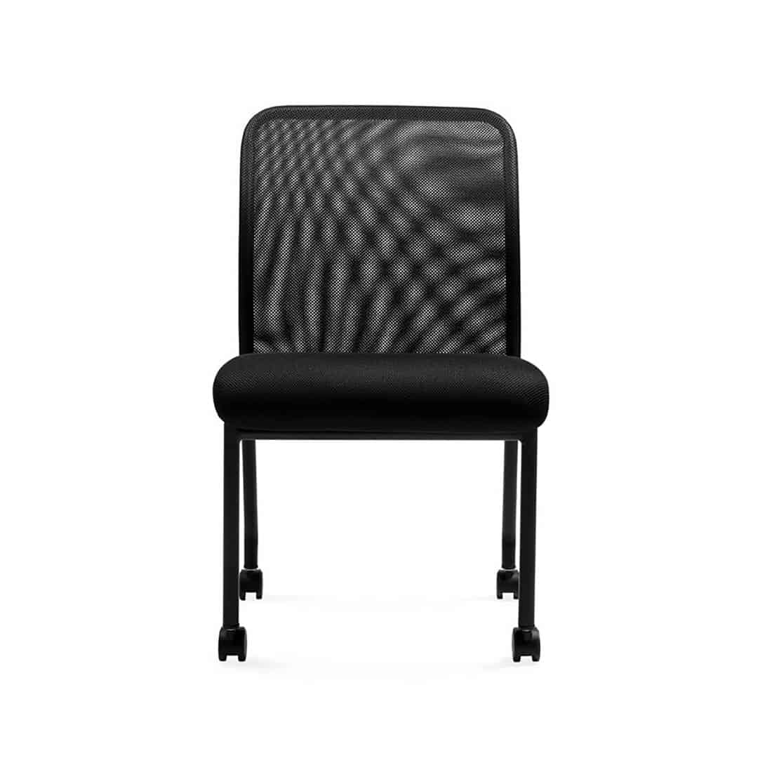 Boardroom Furniture For Sale: Armless Mesh Back Conference Room Chair On Casters