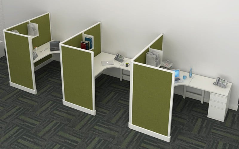 6 39 X 6 39 Modern Cubicles With 67 H Privacy Screen Panels