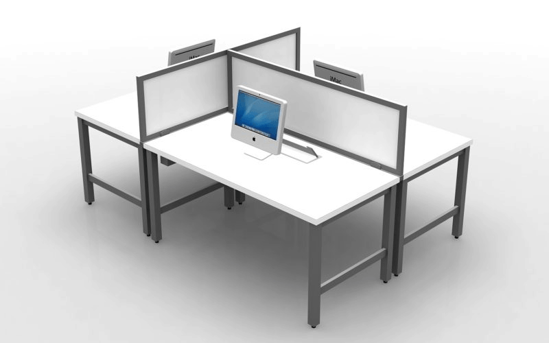 "3 Person Desking with Privacy Screens 18""H laminate privacy screens 30""x60"" straight worksurface"