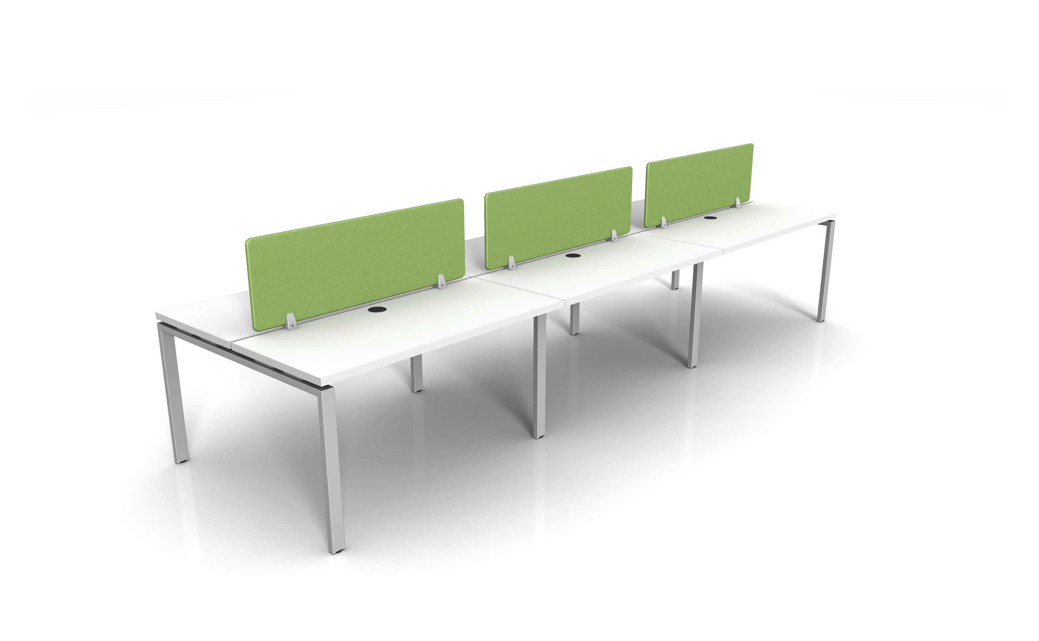 "6 Person Benching Workstations 15""H fabric privacy screens and cable trough power and 30""x72"" straight worksurface"