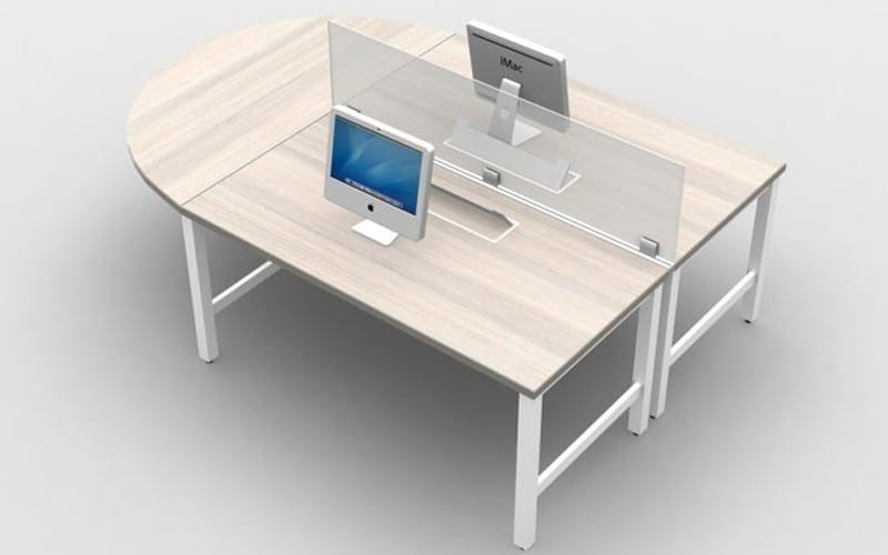 "2 Person Desking with Glass Screens 16""H Frosted glass screens and 60"" half round worksurface"