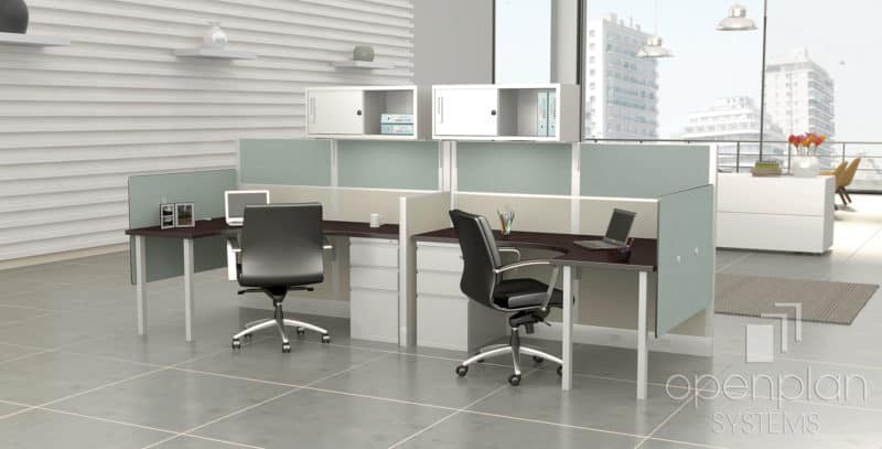 Open Cubicle Workstation For 2 People W Storage Cabinet