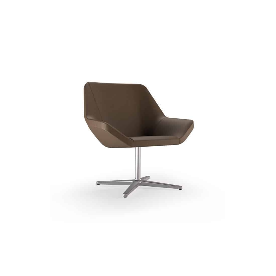Keilhauer Cahoots Relax Chair Polished Aluminum 4-star pedestal base Fully upholstered leather 31 x 30 x 30 in