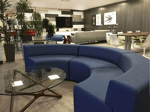 Collaborative Ancillary Areas rounded semi-circle sofa wicker