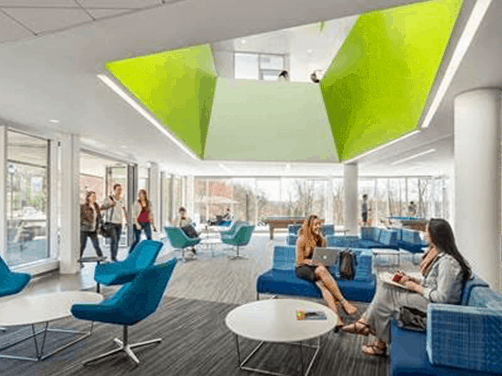 Resimercial, collaborative lounge are with open seating, ceiling and stylex tables
