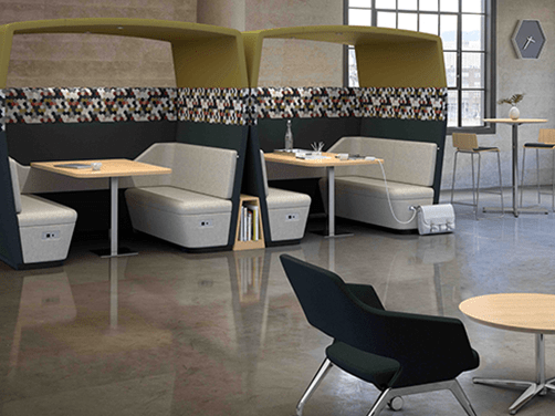 Resimercial collaboration cafe booths with power for charging and overhead acoustic baffling