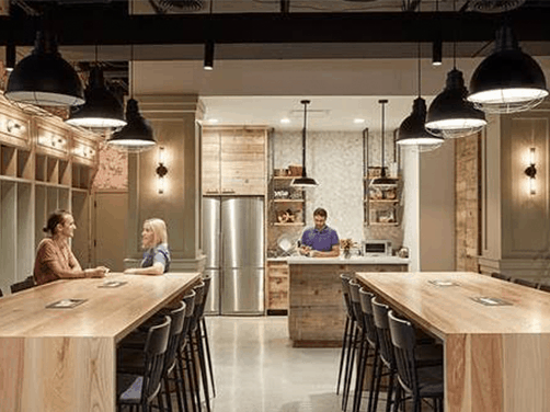 Collaborative Ancilliary Areas meeting space wood table top work cafes