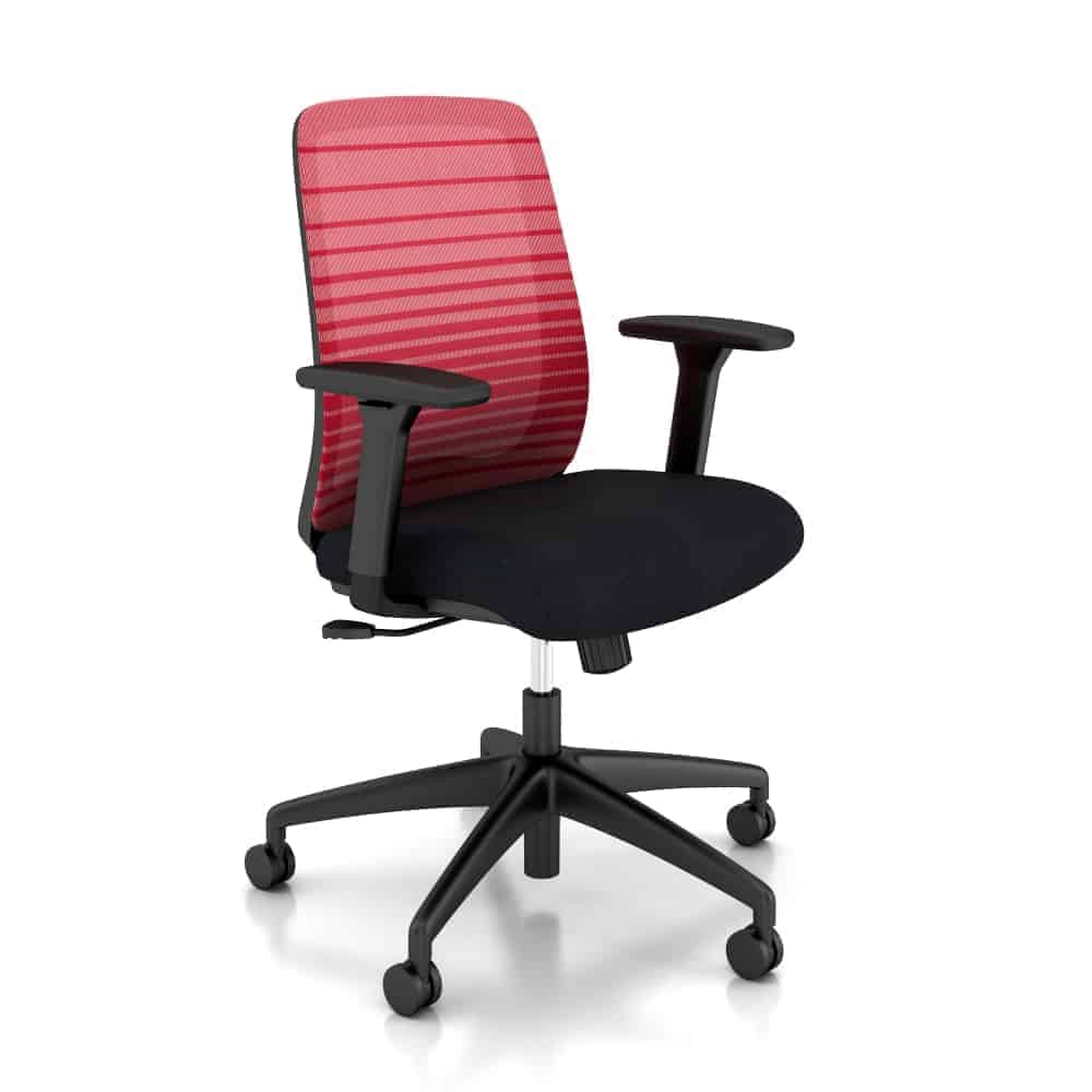 Partsco Bolton Striped Mesh Back Desk Chair with Height Adjustable Arms Body conforming lumbar support