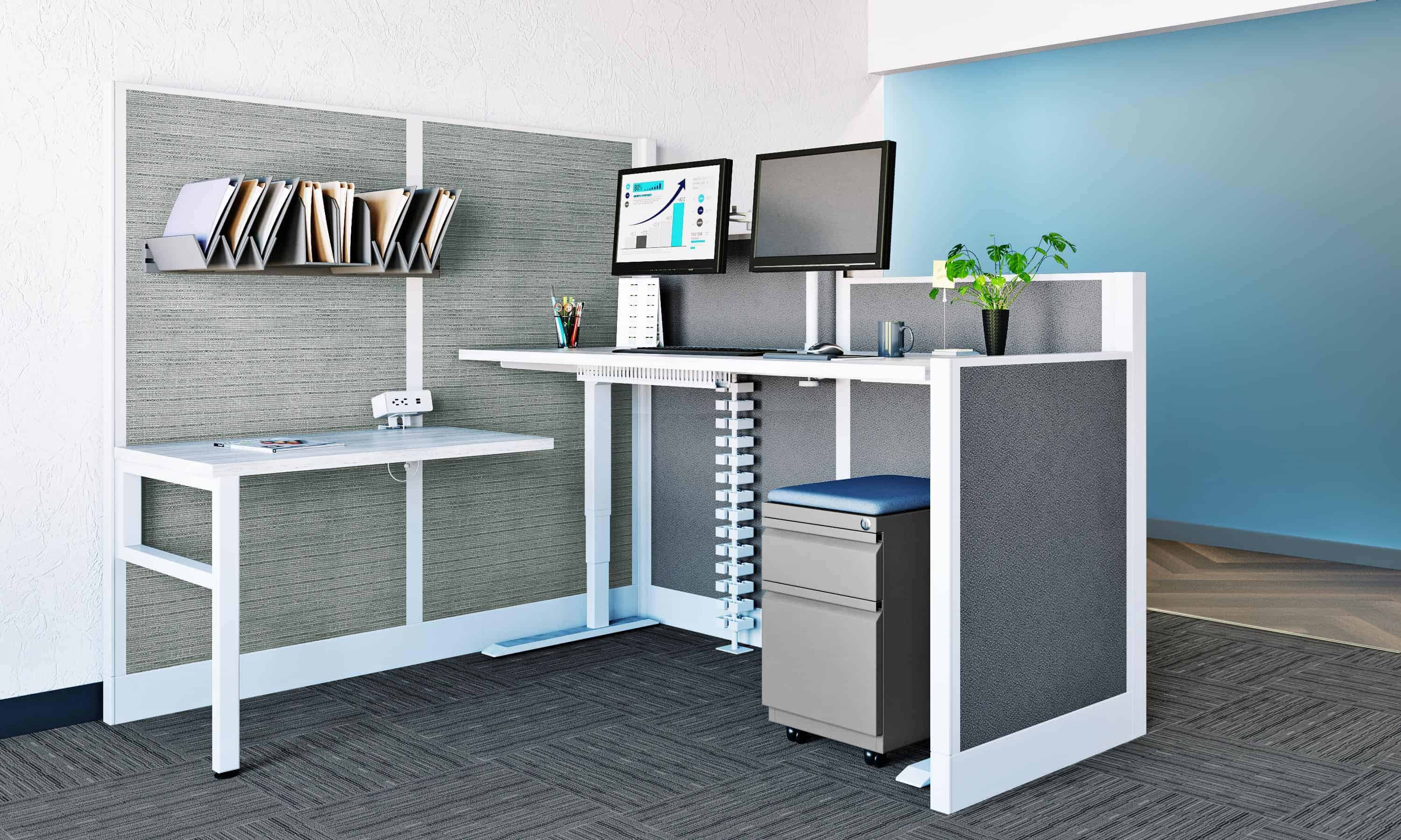 4 Person Height Adjustable Workstation
