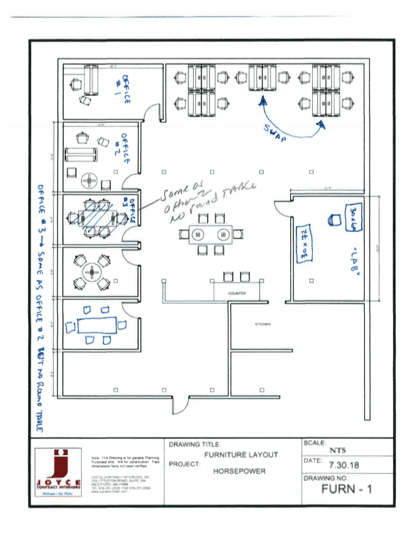 CAD floor plan design for startup office