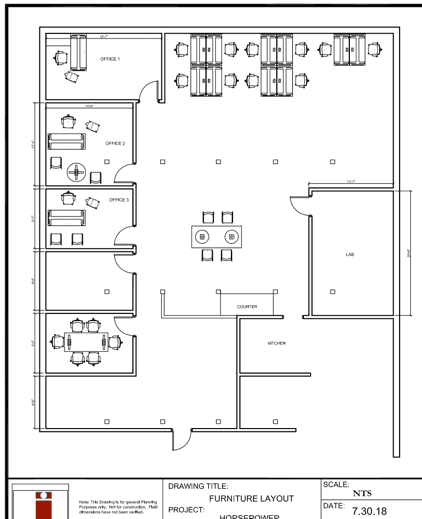 CAD drawing for office furniture layout